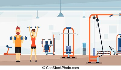 Sport Fitness Man Lifting Weight Exercise Workout Gym Interior