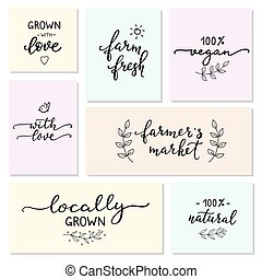 Hand written organic farm messages set