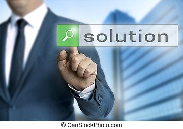 solution browser is operated by businessman background.