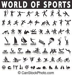 sports icons with a shadow on a white background