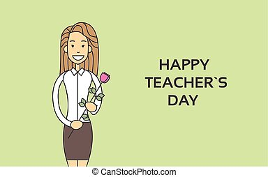 Woman Hold Rose Flower Teacher Day Holiday Greeting Card...