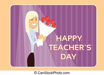 Woman Hold Rose Flower Bouquet Teacher Day Holiday Greeting...