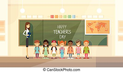 Teacher Day Holiday Class School Children Group Flat...