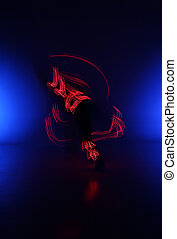 Light Painting Photography. Freezelight photo dancers with...
