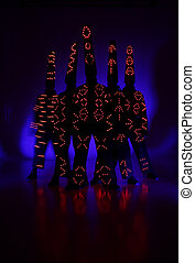 Light Painting Photography. Freezelight photo dancers each...