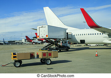 cargo plane loading commercial product in airport