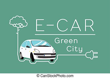 Electric Car Banner - Electric car eco concept Vector banner...