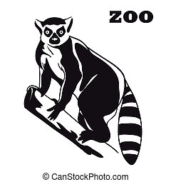 black lemur mascot - Lemur Black vector emblem on a white...