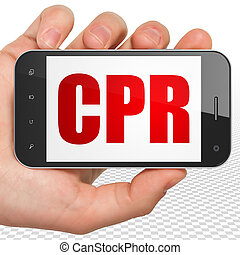 Health concept: Hand Holding Smartphone with CPR on display...