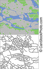 Stockholm - Illustration city map of Stockholm in vector