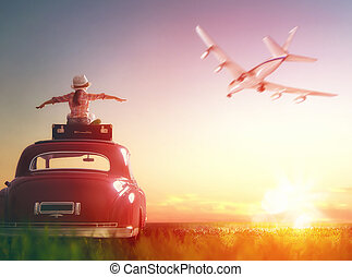 girl sitting on roof of car. - Toward adventure! Girl...