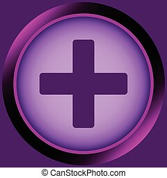 Icon violet plus - Icon the button with positive plus with...