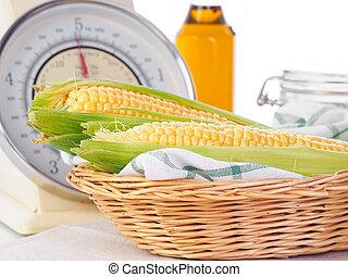 maíz, Mazorcas, en, Un, escala,
