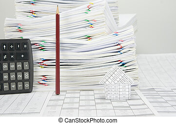 鉛筆, 垂直, 房子, 計算器, 地方, 有, 迷離