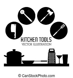 Illustration of kitchen tools, editable vector