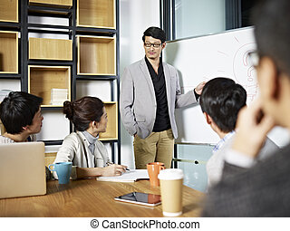 young asian business person facilitating a discussion -...