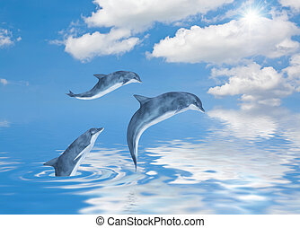 Dolphins - This image shows 3 generated dolphins