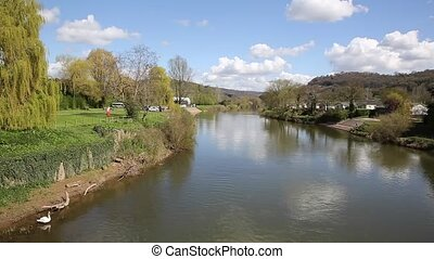 The Wye valley River Wye Wales uk - River Wye Monmouth Wales...