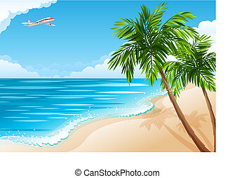 Tropical landscape - Vector illustration - Tropical...