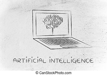 laptop with circuit brain on screen, artificial intelligence