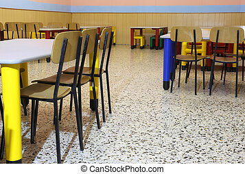 chairs in the refectory of the nursery with chairs and small...