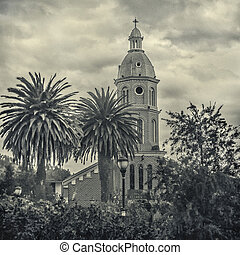 San Luis Church Otavalo Ecuador - Black and white photo low...