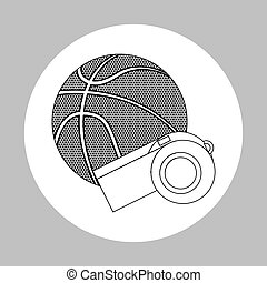 colored basketball icon, vector illustration