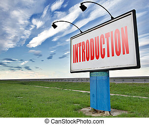 introduction - Introduction or about us road sign a...