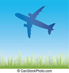 Airplane aero aviation silhouette cartoon illustration