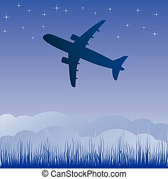 Airplane aero aviation silhouette. cartoon illustration.