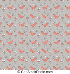 seamless pattern with birds and crown