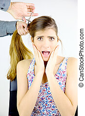 Woman scared about getting all her big long hair cut off by...