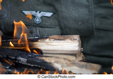 Uniform In Fire - Nazi uniform in fire, concept of the end...