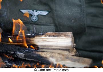 uniforme, en, fuego,