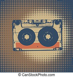 Audiocassette retro music background. Audiocassette...