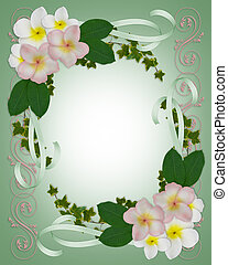 Wedding invitation Plumeria border