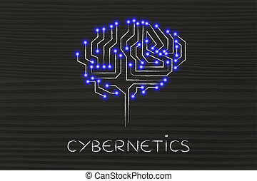 microchip circuit brain with led lights, caption cybernetics...