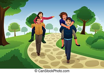 Couple Having a Piggyback Race - A vector illustration of...