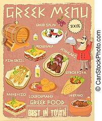 Greek Food Menu Card with Traditional Meal Retro Vintage...