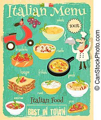 Italian Food Menu Card with Traditional Meal. Retro Vintage...