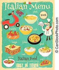 italiano, cibo, menu,