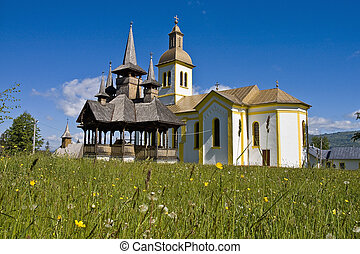 Maramures, Romania - Moisei, traditional church of northern...