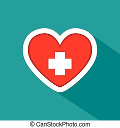 Blood donation - Isolated heart shape with a positive symbol...