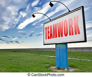 teamwork button concept, team work and cooperation in...