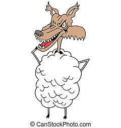 Sheeps clothing wolf - An image of a wolf in sheeps clothing...