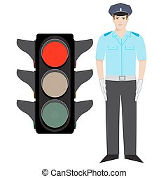 policeman and traffic light - ector policeman showing stop...