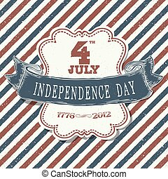 Greeting card for fourth of july holiday. Independence day celebration. Design template.
