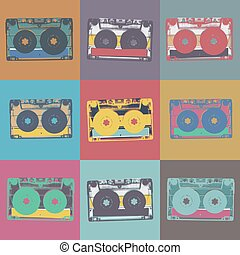 Audiocassette retro popart music seamless background....