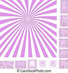 Magenta white ray burst background set - Magenta and white...