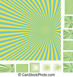 Cyan yellow ray burst background set - Cyan and yellow...